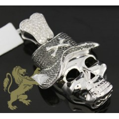 5.00ct 14k White Gold Diamond black Skull Pendant