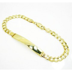10k Yellow Gold Cuban Id Bracelet 8.25 Inch 5.7mm