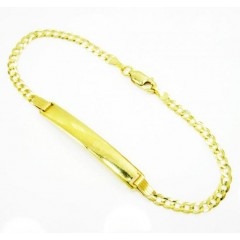 10k Yellow Gold Cuban Id Bracelet 8 Inch 3mm