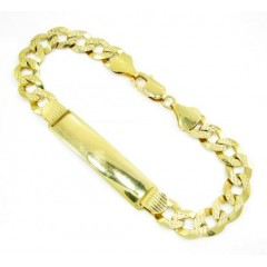 10k Yellow Gold Diamond Cut Thick Cuban Id Bracelet 9 Inch 9.5mm