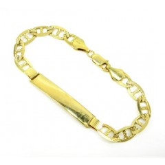 10k Yellow Gold Diamond Cut Mariner Id Bracelet 8 Inch 7.5mm
