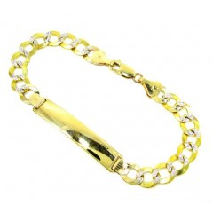 10k Yellow Gold Diamond Cut Cuban Id Bracelet 8.5 Inch 8.5mm