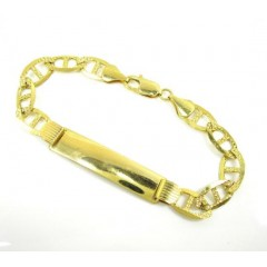 10k Yellow Gold Diamond Cut Mariner Id Bracelet 8.5 Inch 9mm