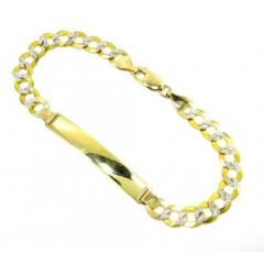 10k Yellow Gold Diamond Cut Cuban Id Bracelet 8.5 Inch 7mm
