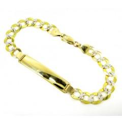 10k Yellow Gold Diamond Cut Cuban Id Bracelet 8.5 Inch 8.4mm