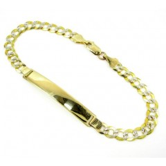10k Yellow Gold Diamond Cut Cuban Id Bracelet 8.5 Inch 5.7mm
