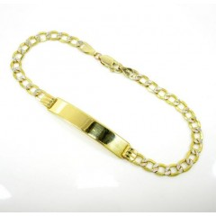 10k Yellow Gold Diamond Cut Cuban Id Bracelet 8 Inch 4.7mm