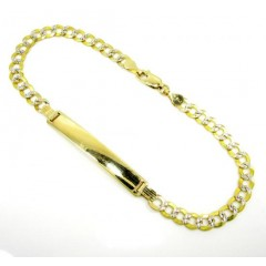 10k Yellow Gold Diamond Cut Cuban Id Bracelet 8 Inch 4mm