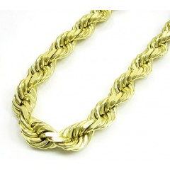 10k Yellow Gold Thick Solid Rope Chain 26-40 Inch 8.7mm