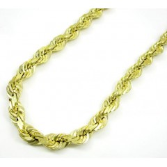 10k Yellow Gold Thick Solid Rope Chain 26-40 Inch 6.5mm