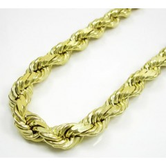 10k Yellow Gold Thick Solid Rope Chain 30-40 Inch 6.8mm