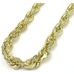 10k Yellow Gold Solid Rope Chain 24-30 Inch 5mm