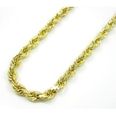 10k Yellow Gold Solid Rope Chain 20-24 Inch 3mm