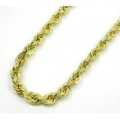 10k Yellow Gold Solid Rope Chain 20-30 Inch 3.7mm