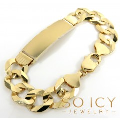 14k Yellow Gold Thick Cuban Id Bracelet 8.50 Inch 12.2mm