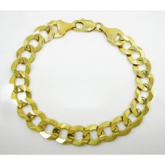 14k Yellow Gold Thick Cuban Bracelet 9 Inch 11.5mm