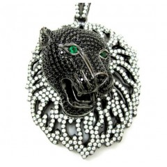 Black Sterling Silver Lio...