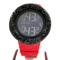 Mens Black Diamond Igucci Digital Big Bezel Watch 4.00ct