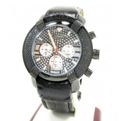 Mens Aqua Master Black Stainless Steel Diamond Watch 0.20ct