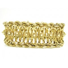 14k Solid Yellow Gold Fancy Rope Bracelet 8 Inch 23.5mm
