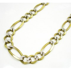 10k Yellow Gold Diamond Cut Figaro Chain 26-30 Inch 9.5mm