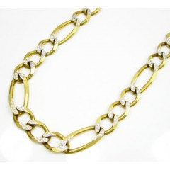 10k Yellow Gold Diamond Cut Figaro Chain 30 Inch 8mm
