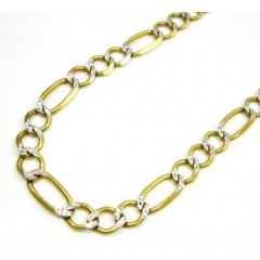 10k Yellow Gold Diamond Cut Figaro Chain 20 Inch 7.2mm