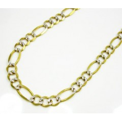 10k Yellow Gold Diamond Cut Figaro Chain 26 Inch 6mm