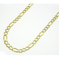 10k Yellow Gold Diamond Cut Figaro Chain 20-36 Inch 3.7mm