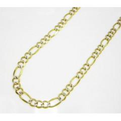 10k Yellow Gold Diamond Cut Figaro Chain 18-30 Inch 4.3mm