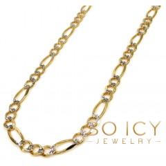 10k Yellow Gold Diamond Cut Figaro Chain 18-30 Inch 4.3mm