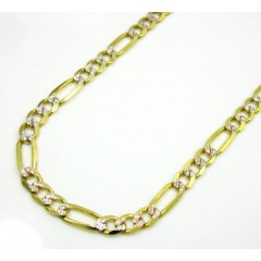 10k Yellow Gold Diamond Cut Figaro Chain 20-26 Inch 3.8mm