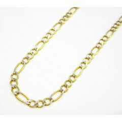 10k Yellow Gold Diamond Cut Figaro Chain 18-24 Inch 2.7mm