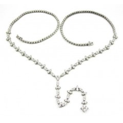 Ladies 18k White Gold Cluster Diamond Necklace 5.00ct