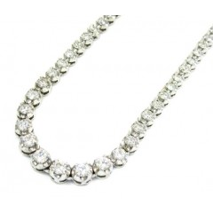 Ladies 18k White Gold Tennis Diamond Necklace 5.50ct