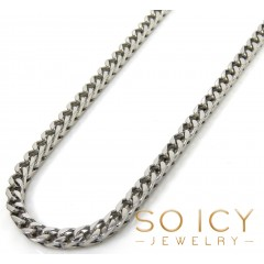 14k Solid White Gold Franco Chain 30-36 Inch 2.5mm
