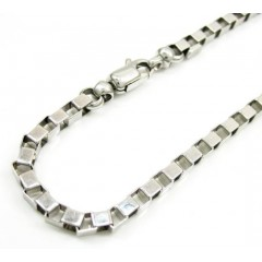 14k White Gold Solid Box Bracelet 7.75 Inch 3mm