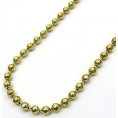 10k Yellow Gold Hexagon Cut Ball Chain 24 Inch 2.8mm