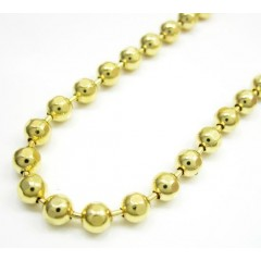 10k Yellow Gold Hexagon Cut Ball Chain 26-40 Inch 4mm