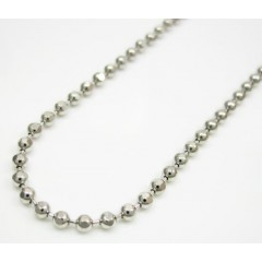 10k White Gold Hexagon Cut Ball Chain 20-30 Inch 1.8mm