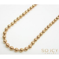 10k Rose Gold Smooth Cut Bead Chain 18-26 Inch 2.2mm