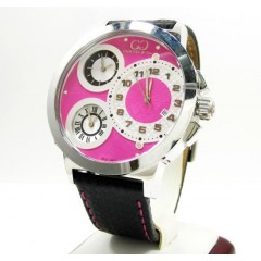 Curtis & Co Stainless Steel Big Time World 3 Time Zone Pink Watch