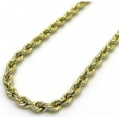 10k Yellow Gold Smooth Cut Link Rope Chain 16-24 Inch 2mm