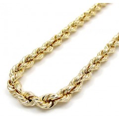 10k Yellow Gold Smooth Hollow Rope Chain 22-30 Inch 4mm