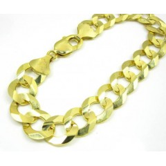 10k Yellow Gold Thick Cuban Bracelet 9 Inch 13mm