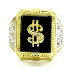 Mens 10k Yellow Gold Dollar Sign Ring