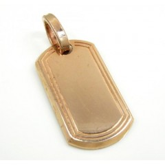 10k Rose Or Yellow Gold Mini Dog Tag Pendant