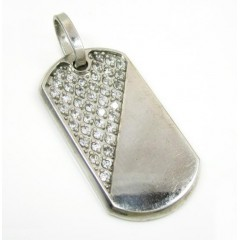 Mens 10k White Gold Cz Dog Tag Pendant 2.00ct