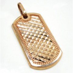 Mens 10k Rose Gold Fancy Diamond Cut Dog Tag Pendant