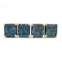 10k Gold Blue Diamond Cube Earrings 0.35ct